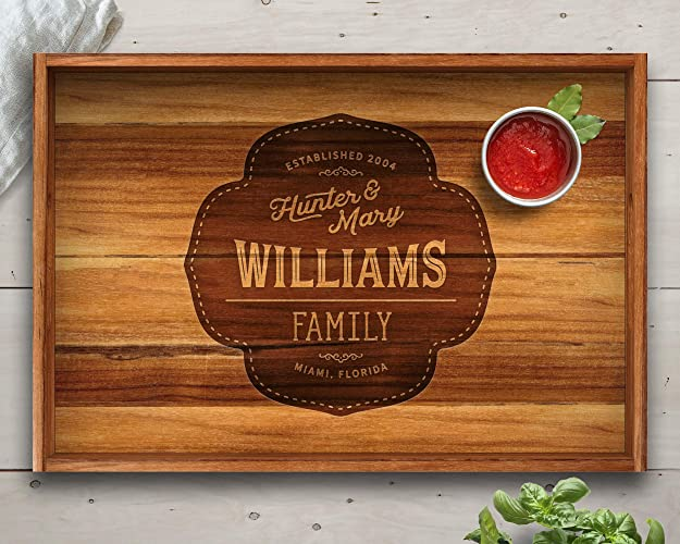 Amazoncom Gift Ideas Teak Tray Engraved Tray Personalized Gift