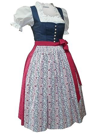 de15f220b0f5 Dirndl Trachten-Kleid Trachtenkleid Dirndlkleid Leinen Baumwolle blau rosa  altrosa Leinendirndl Leinenkleid Made in Austria bedruckte Baumwollschürze  Druck ...