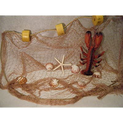 Natural Fishing Net Decor with Lobster, Seashells and Starfish Beach Theme Decor for Party Home Bedroom Wall Hanging Fish Net Decorations (20' x 8'): Home & Kitchen