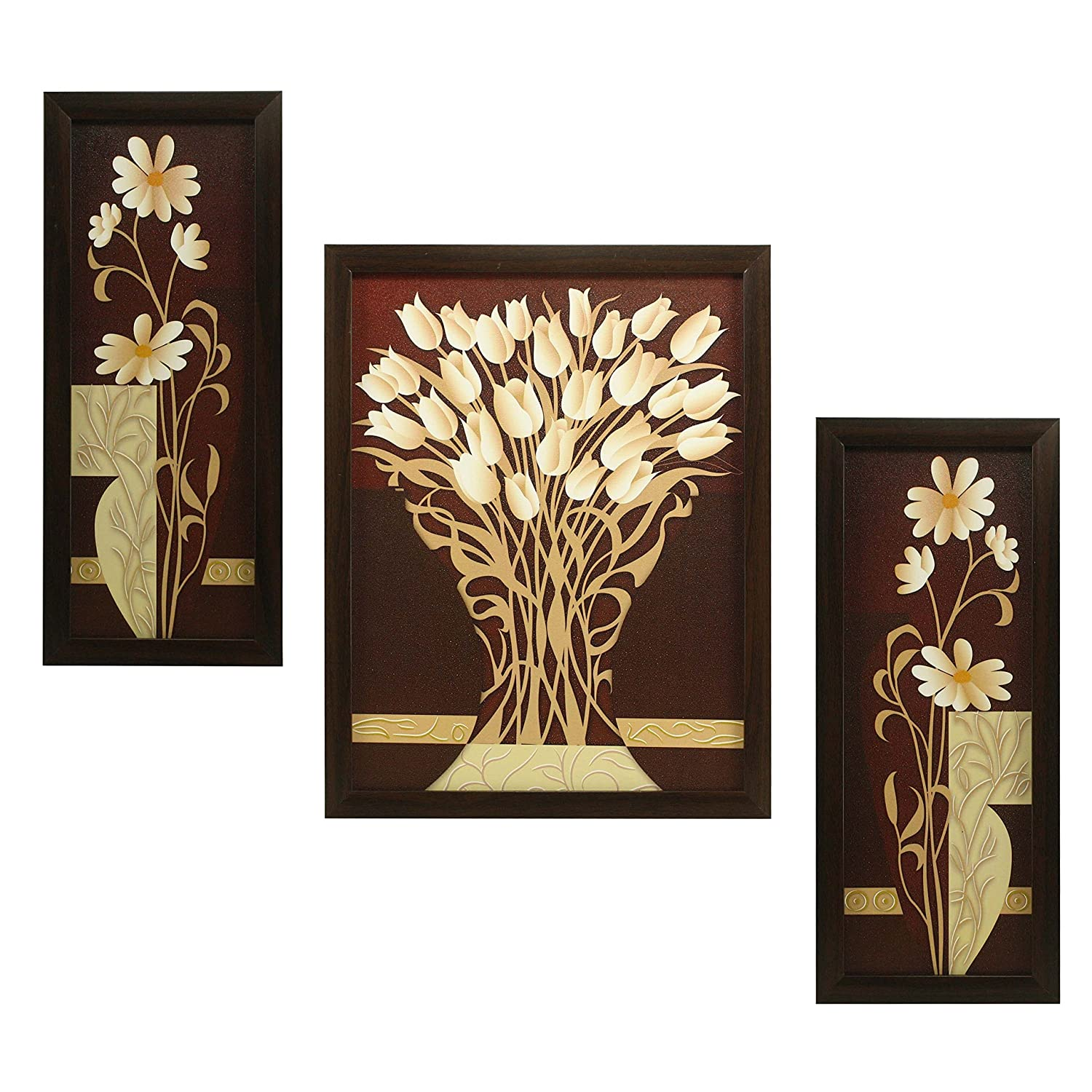 Indianara 3 Pc Set Of Flower (995) Paintings Without Glass