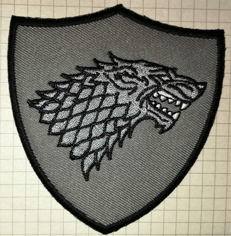 Juego de Tronos Casa Stark Direwolf Shield gamuza de bordado iron on patch