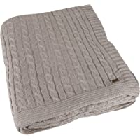 Knotty Light Beige Melange Knitted Throw Blanket Plaid, 100% Cotton, Textured Very Soft Handfeel, Ideal for Sofa, Couch, Armchair, Bed, Travel, Outdoor, by Pluchi