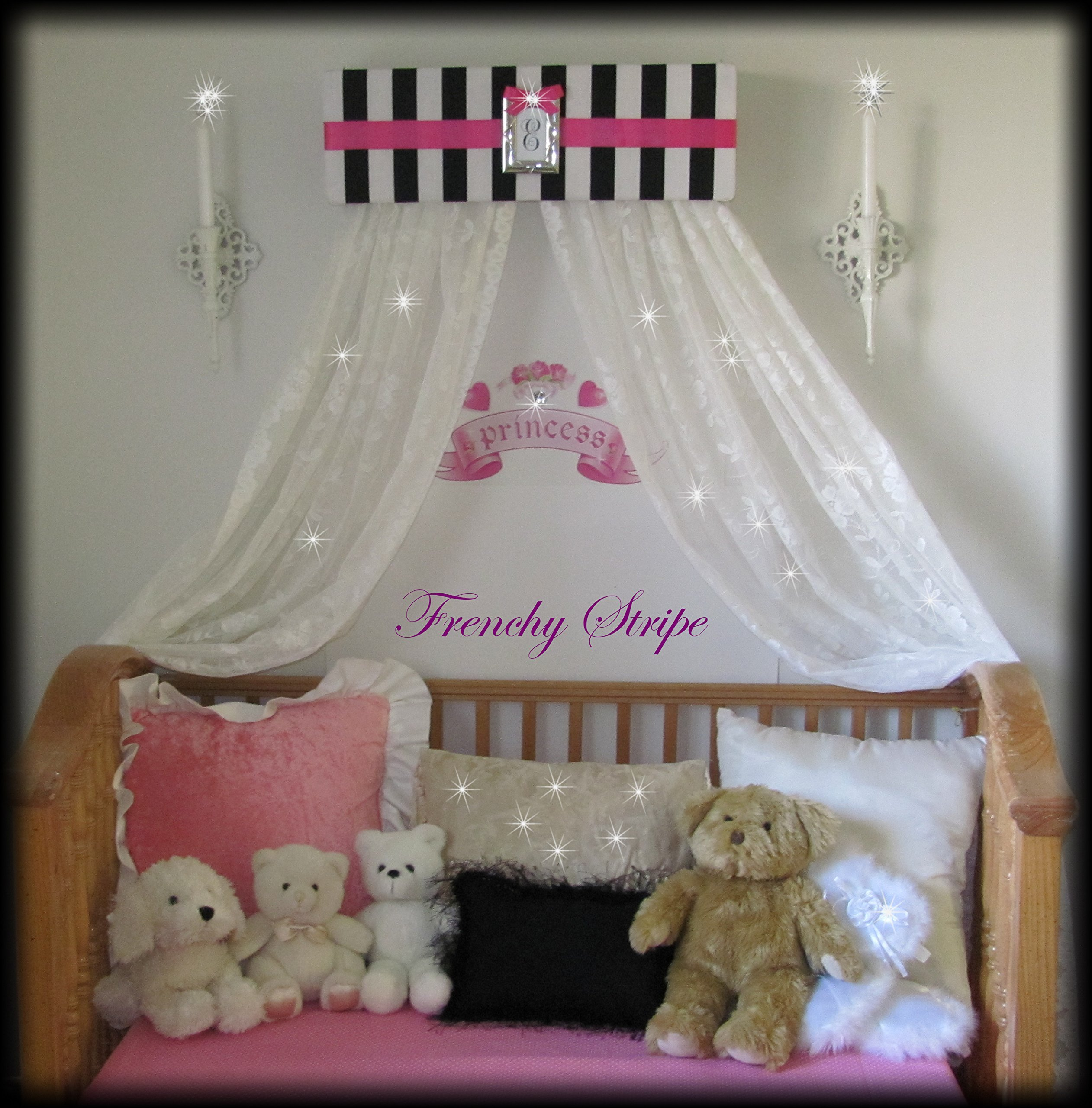 Princess Bed Canopy Crown Valance French Paris Stripe Pink Black White Upholstered SALE