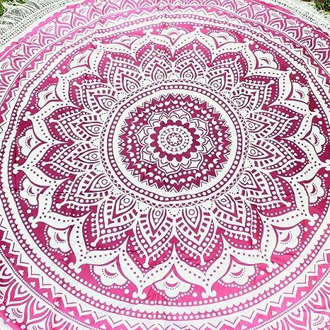 Ezeso indio Mandala playa toalla redonda manta tapiz algodón mantel protección chal