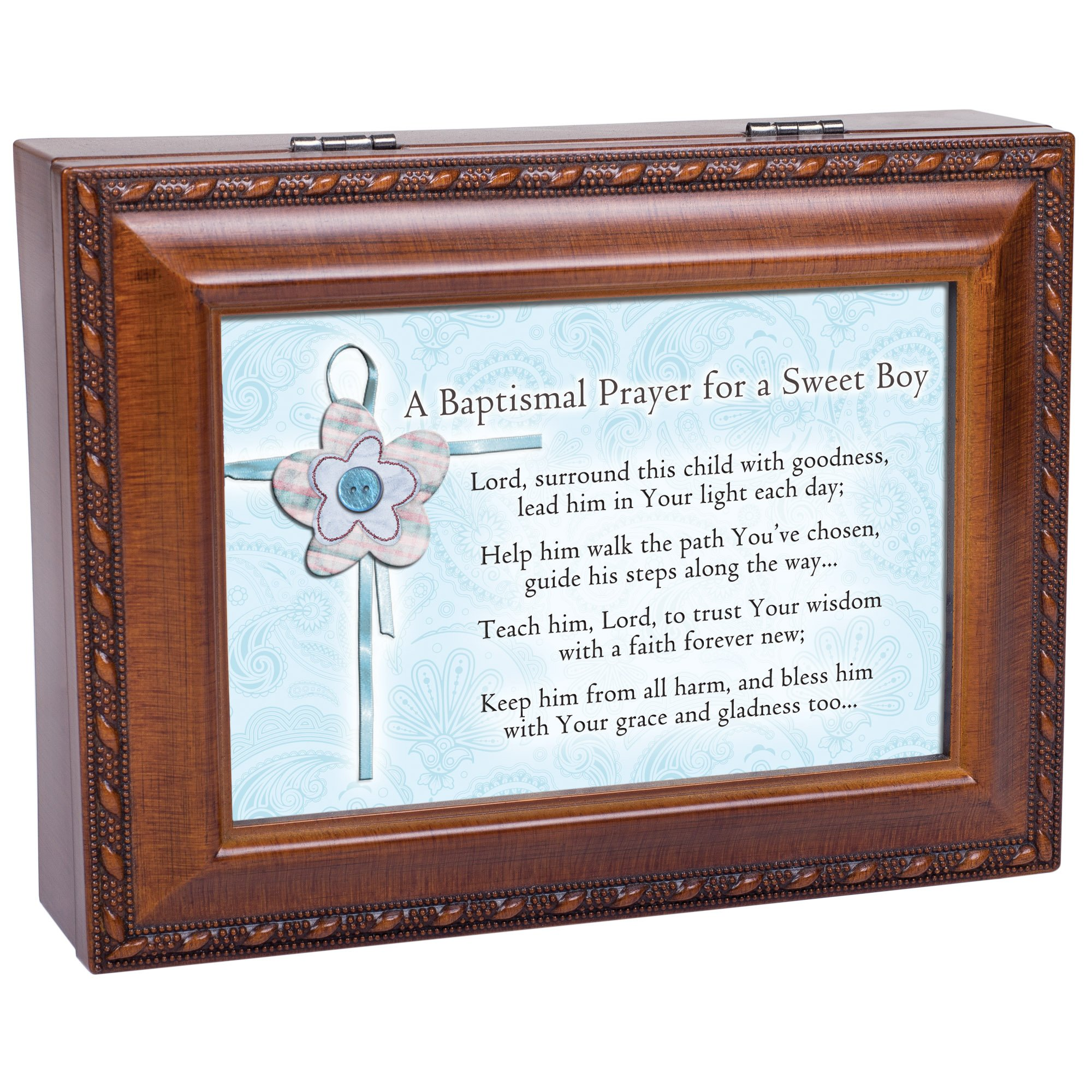 Cottage Garden Baptized In The Name Woodgrain Music Box/Jewelry Box Plays Jesus Loves Me by Cottage Garden (Image #7)
