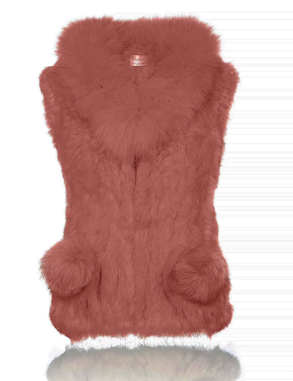HEIZZI 100% Rabbit Fur Vest with Fur Ball Elegant Soft FOFOV7