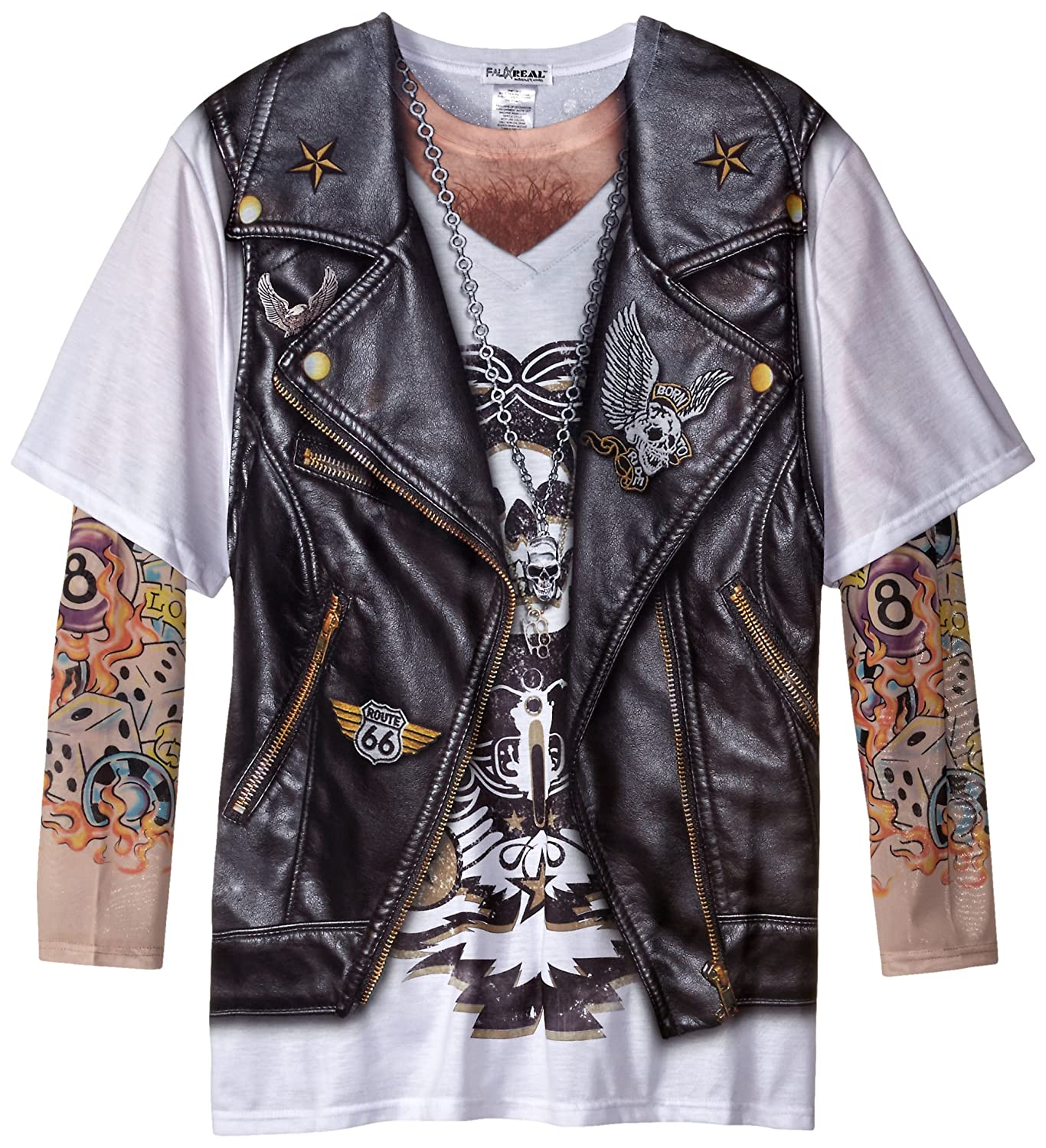Faux Real Men's Big-Tall Biker Tattoo T-Shirt With Mesh Long Sleeves