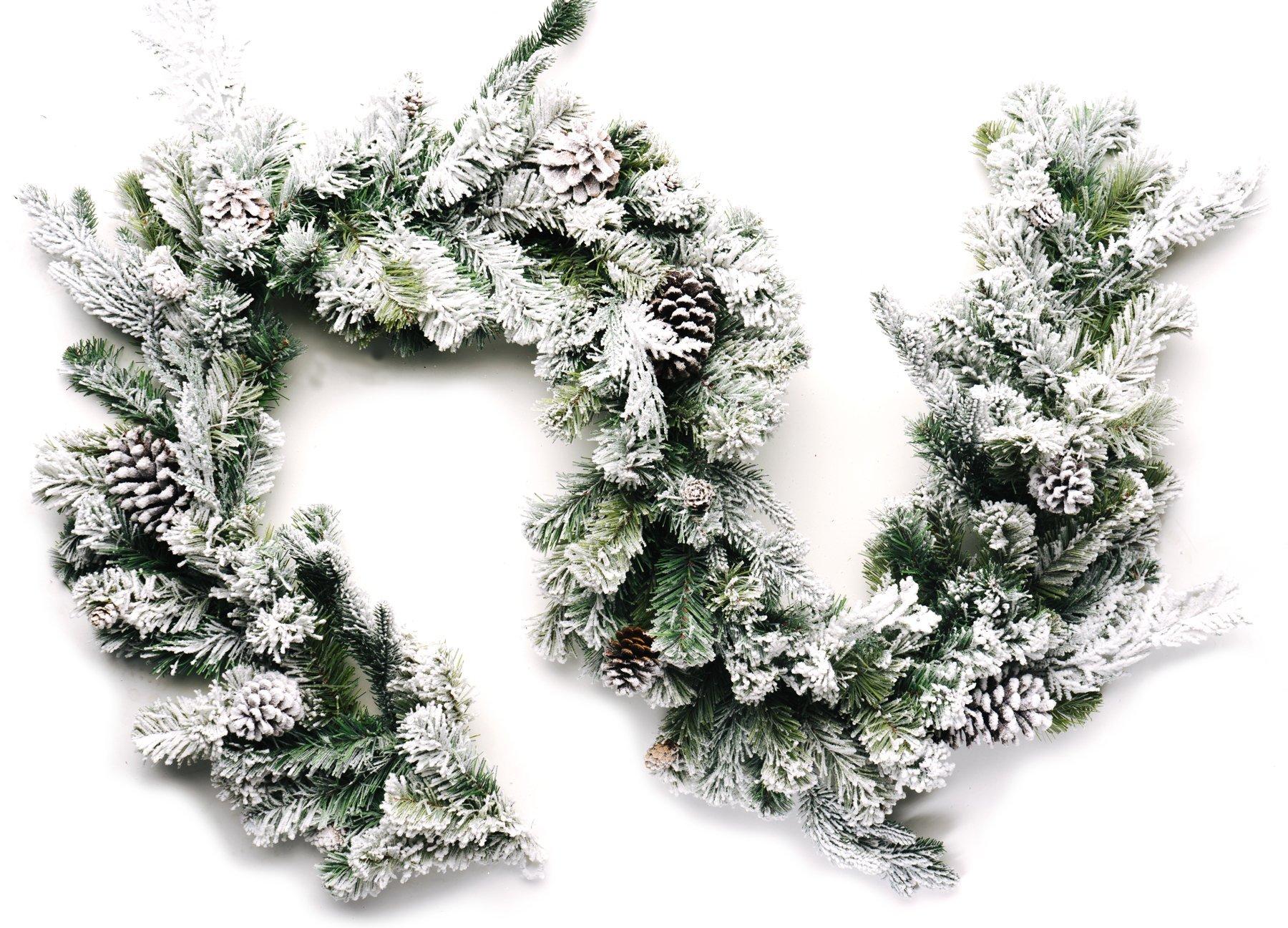 silk flower arrangements craftmore frosted forest pine garland 6 feet
