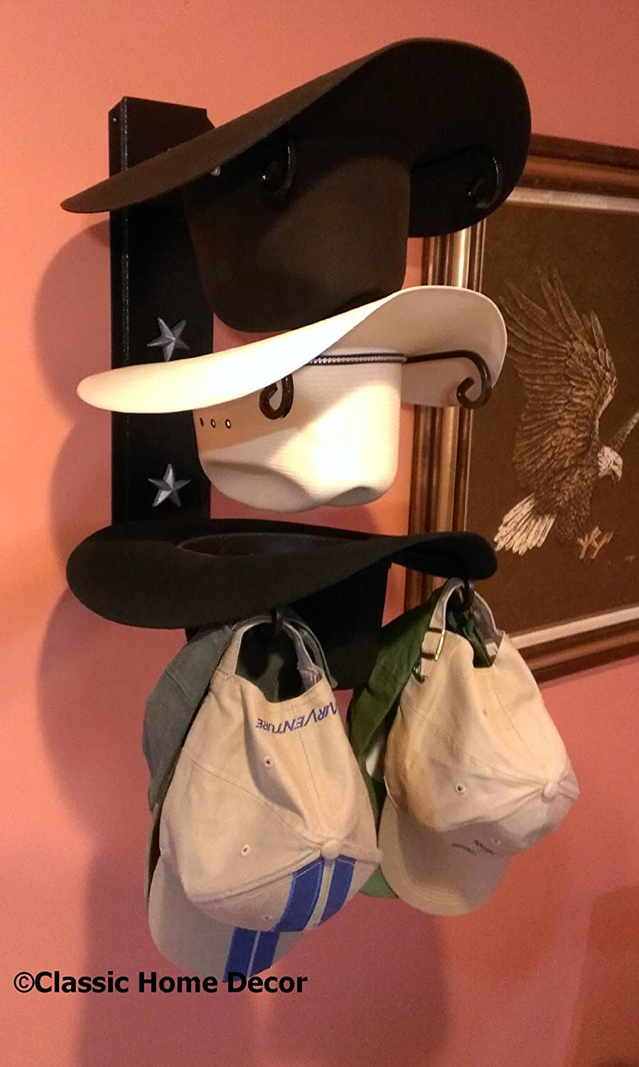 Mark Christopher Collection American Made Cowboy Hat Holder Black with Silver Stars Classic Home Decor 663 STAR BLK/SLV