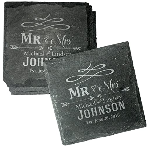 Custom Engraved Wedding Coaster Gift Set For Couples