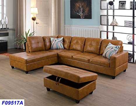 Tremendous Lifestyle Furniture Left Facing 3Pc Sectional Sofa Set Faux Leather Ginger Lsf09517A Pdpeps Interior Chair Design Pdpepsorg