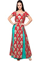 Ahalyaa Red Colored Half Sleeve And Boat Neck Faux Crepe Kurti