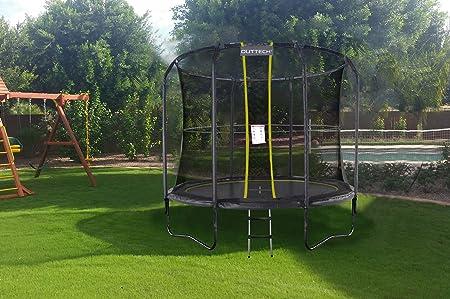 Outtech Skyrods Plus Trampolin Schwarz O 250 Cm Metallsprungfedern Mit Sicherheitsnetz Und Leiter Gartentrampolin Amazon De Garten