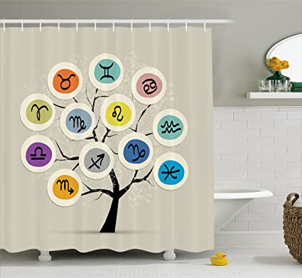 Zodiac Shower Curtain By Lunarable Artistic Tree With Different Horoscope Signs In Colorful Circles Astrology