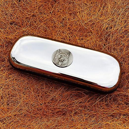 Really Useful Gifts - Emblema de Pastor alemán de Peltre Envejecido con Estuche de Metal Cromado: Amazon.es: Hogar