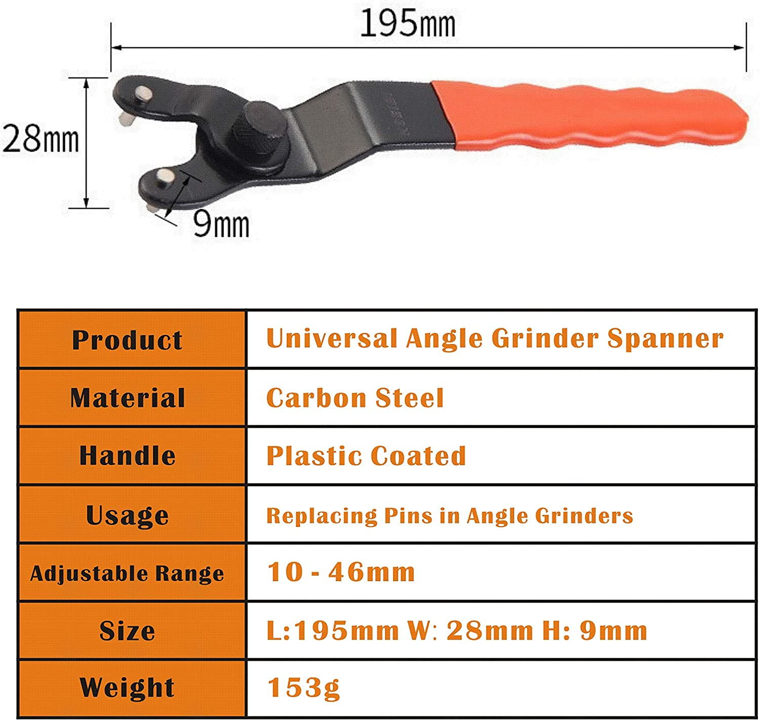 Meccion Universal Angle Grinder Spanner 10-46mm Adjustable Pin Wrench with Non-Slip Plastic Coated Grip