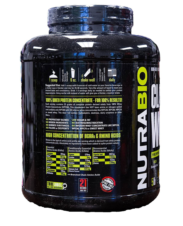 Nutrabio Classic Whey Protein Powder Chocolate Milkshake 5 lb