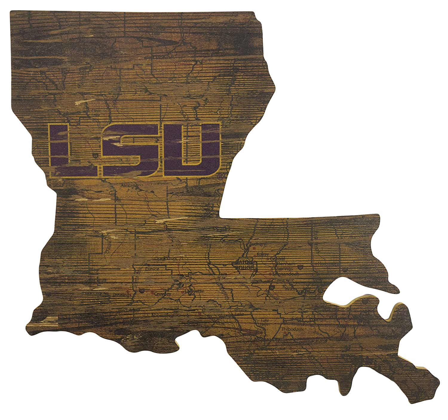 NCAA LSU Tigers 21 x 23 State Cutout with Logo Wood Sign