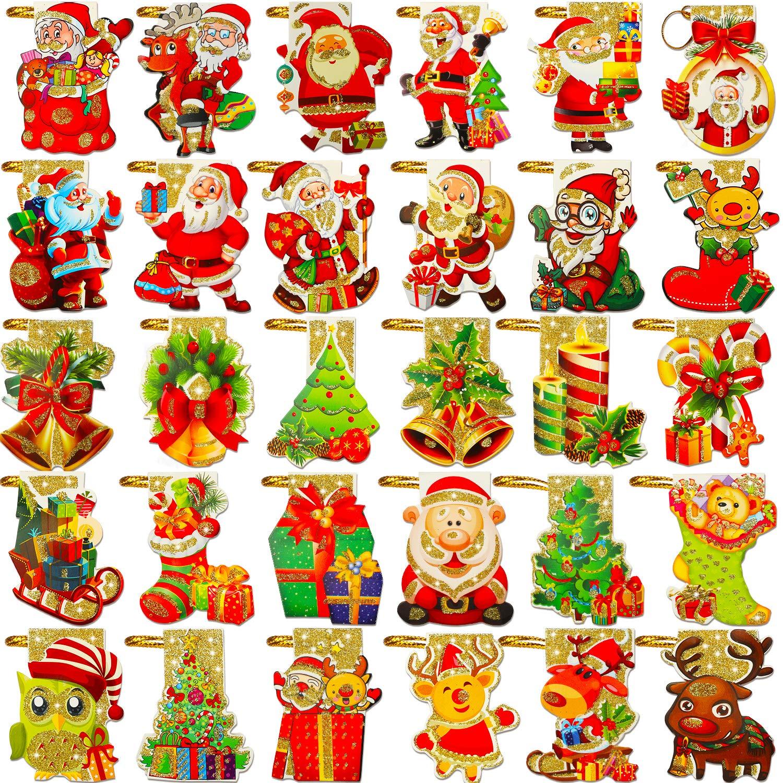 Phogary 240 Pezzi Tag Albero di Natale Hanging Tag con String per Merry Christmas Festival Gift Bag Confezione regalo Etichetta DIY Hang Card, 30 tipi