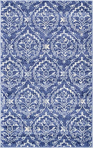 Unique Loom Damask Collection Traditional Floral Blue Area Rug 3 3 x 5 3