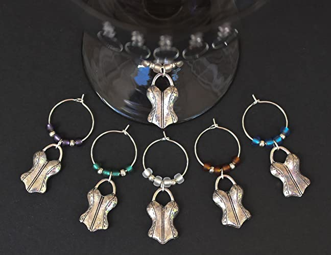 corsetswimsuitbachelorette partywedding shower wine glass charms set of