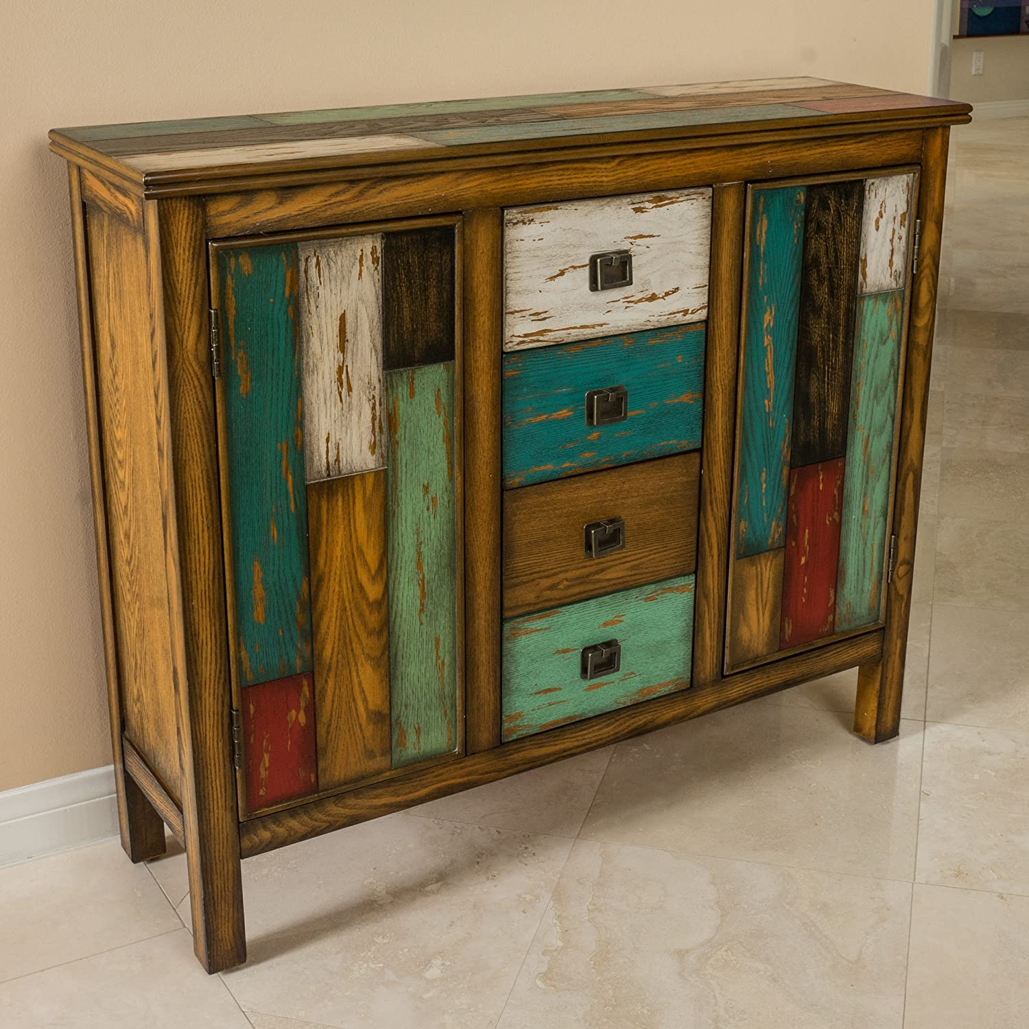 Amazon.com: Great Deal Furniture | Delaney | Antique Distressed Wood  Storage Cabinet | In Multicolor: Kitchen U0026 Dining