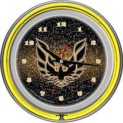"Pontiac Firebird Black Chrome Double Ring Neon Clock, 14"""