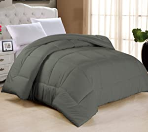 "Swift Home All-Season Extra Soft Luxurious Classic Light-Warmth Goose Down-Alternative Comforter, Queen 90"" x 90"", Grey"