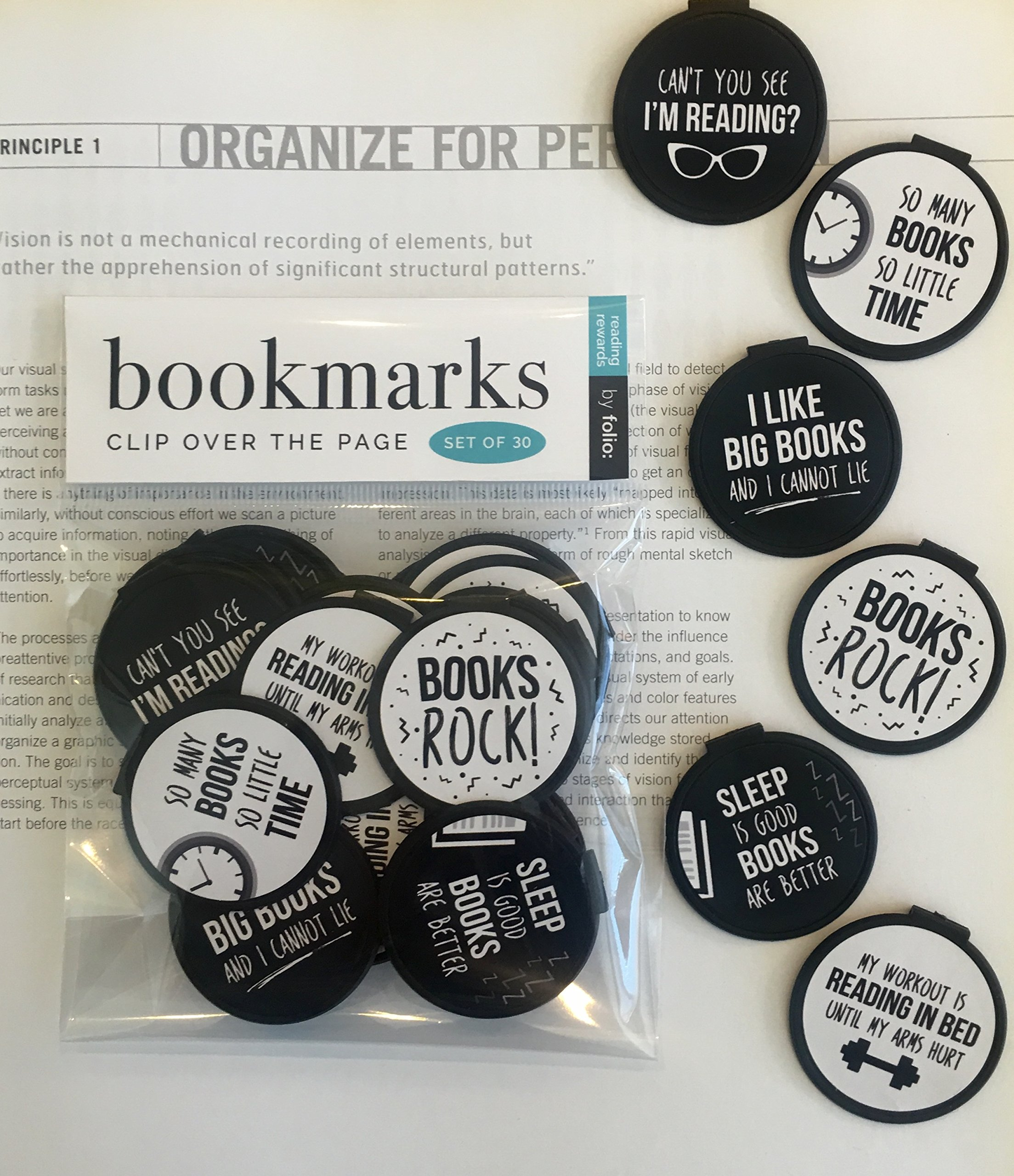 Clip Over The Page Bookmarks - Set of 30 -B&W Books Rock