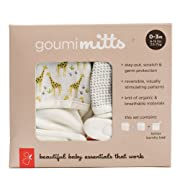 goumimitts Soft Stay On Scratch Mittens -Stop Scratches and Germs, 2 Pack (0-3 Months, Safari - Drops/Gray)