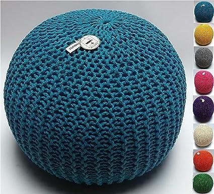Millhouse, pouf poggiapiedi in maglia imbottito in cotone per ...