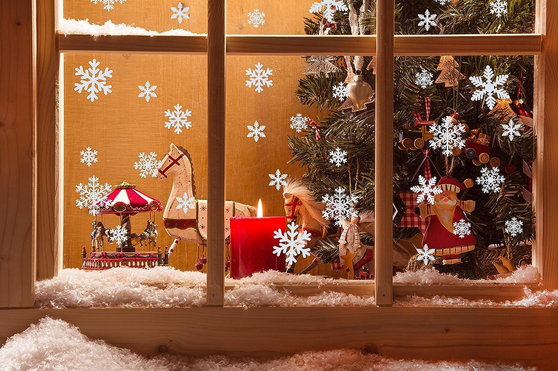 BESTIM INCUK 54 Pieces Christmas Snowflake Window Stickers White Xmas Window Cling Stickers Decorations