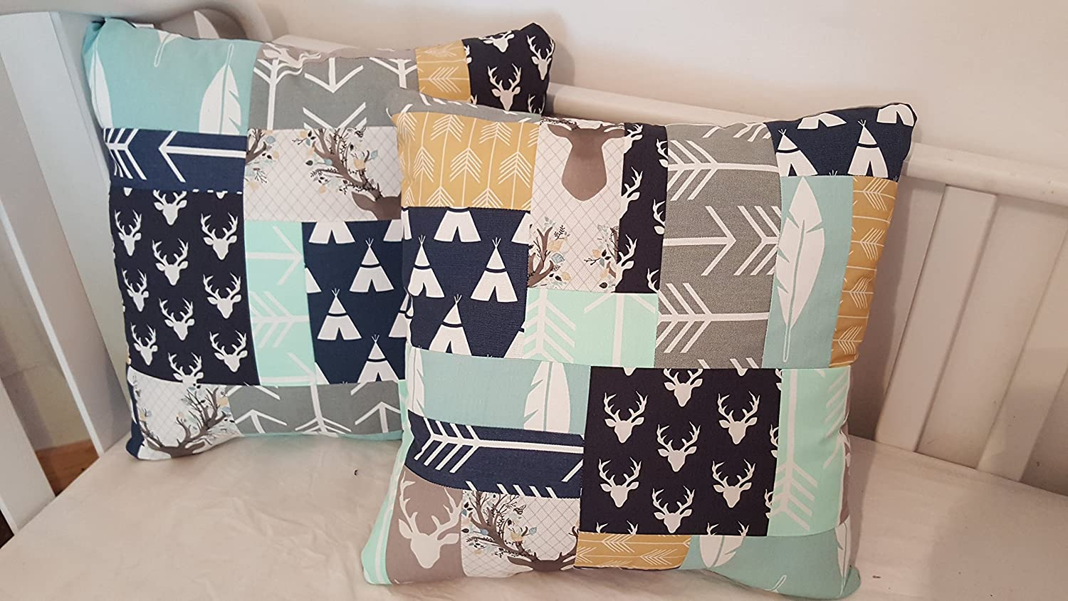 2 Patchwork pillow set, to match any crib bedding, Throw pillows, Accent pillows