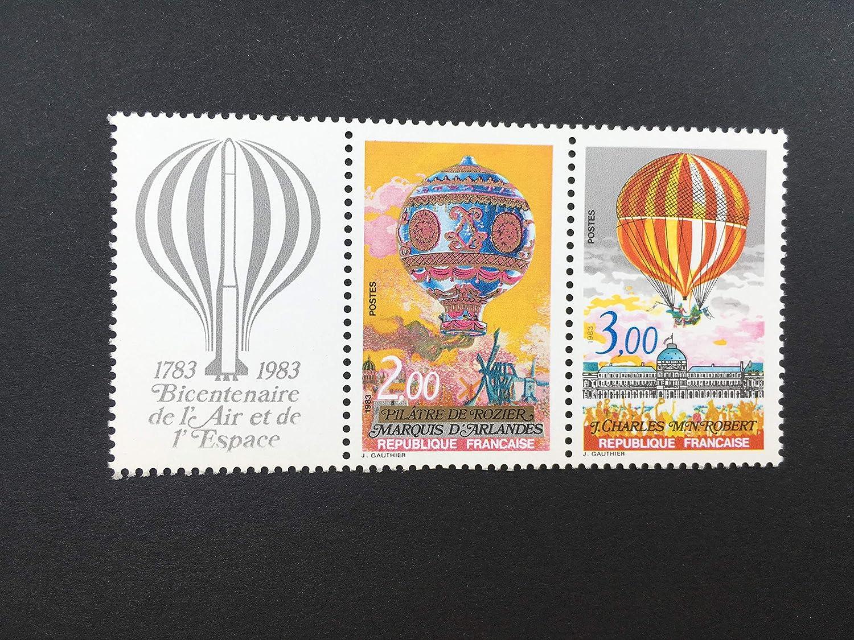 Gomme intacte Triptyque Neuf avec Nums 2261 et 2262 et Vignette attenante Montgolfi/ère Timbre France 1983