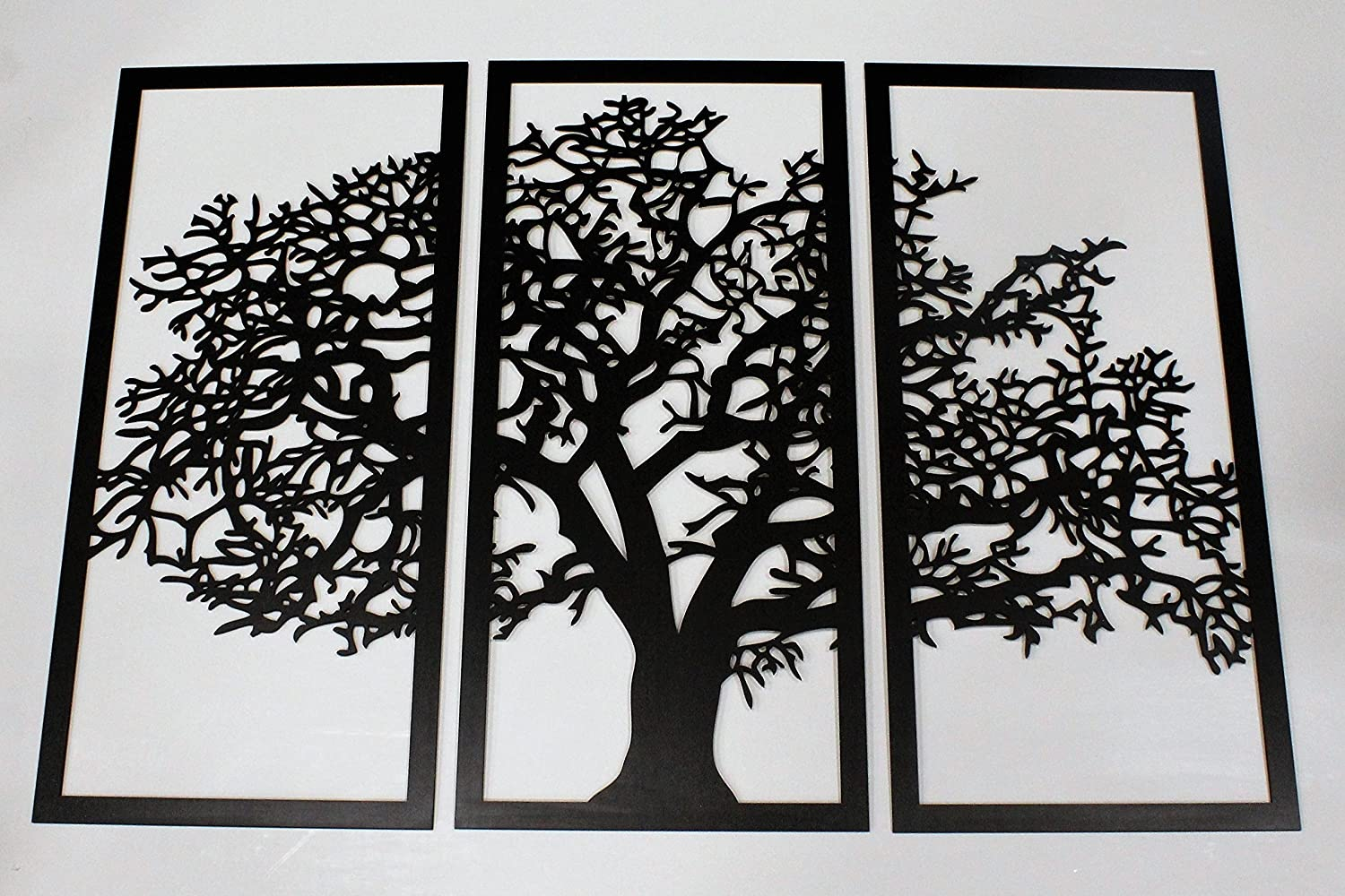 Skyline Workshop Tree of Life Ebony - 3 Panel Wood Wall Art - Beautiful Living Room Decor - Stunning Modern Art - Made in The USA