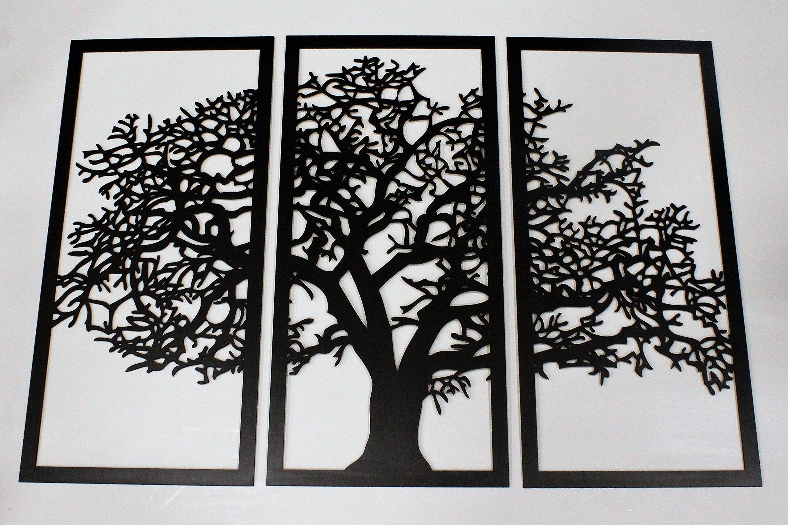Tree of Life 3D Ebony - 3 Panel Wood Wall Art - Beautiful Living Room Decor - Skyline Workshop