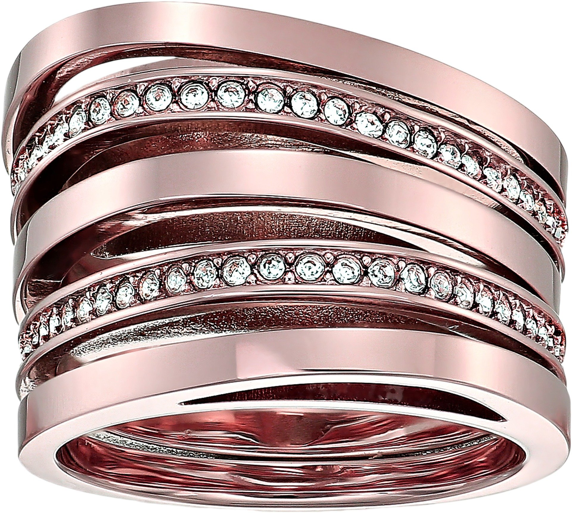 Michael Kors Women's Brilliance Stacked Pave Ring Rose Gold 8