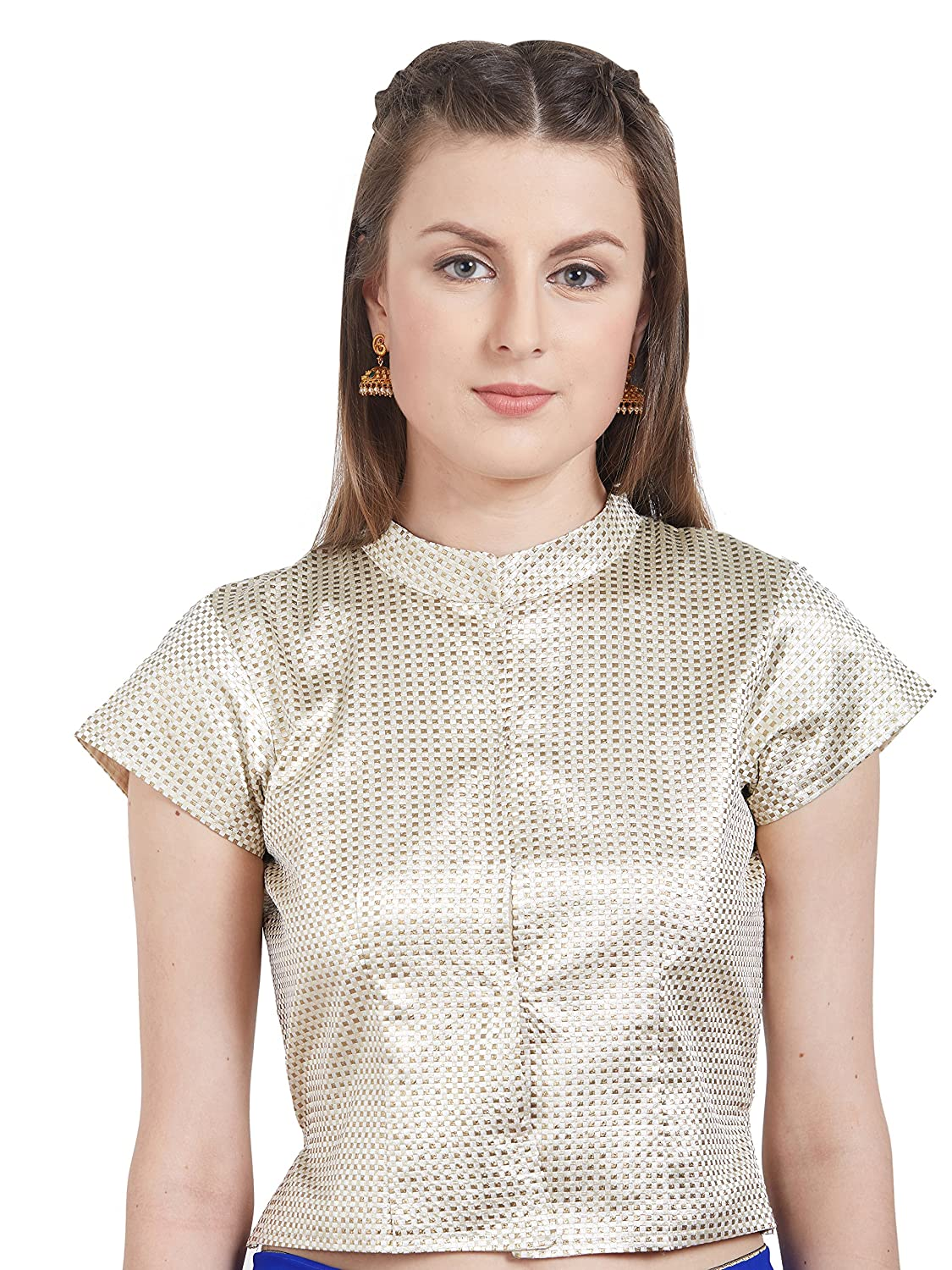 4ddefbe0 Blouse Pattern: High Neck Polo Design Neck with Short Sleeves (Cup type:  Non-padded) Care: Hand or Light Machine Wash Note: Kindly choose as per  your size.