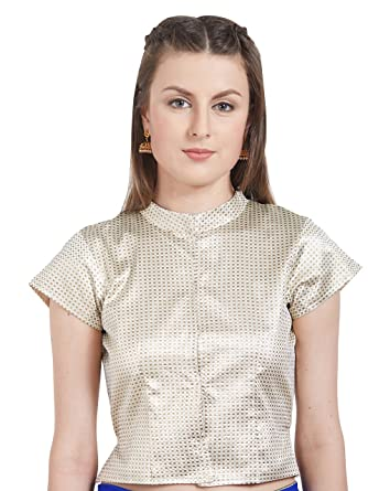 cc569fef Amazon.com: Women's Art Silk High Neck Polo Design Readymade Blouse  Partywear Saree Choli Mirchi Fashion Top: Clothing