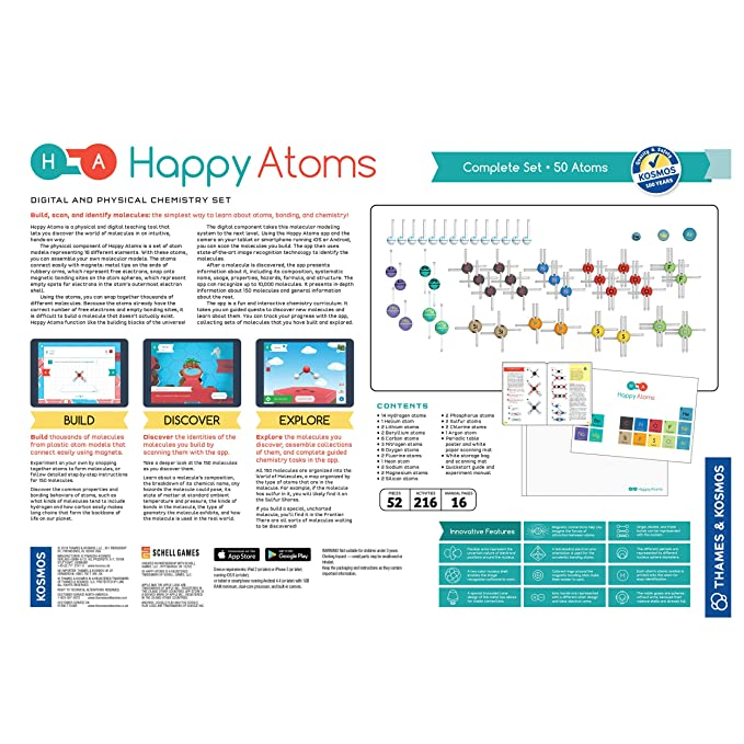 Happy Atoms Magnetic Molecular Modeling Complete Set 50 Atoms Create 17 593 Molecules 216 Activities Free Educational App IOS Android