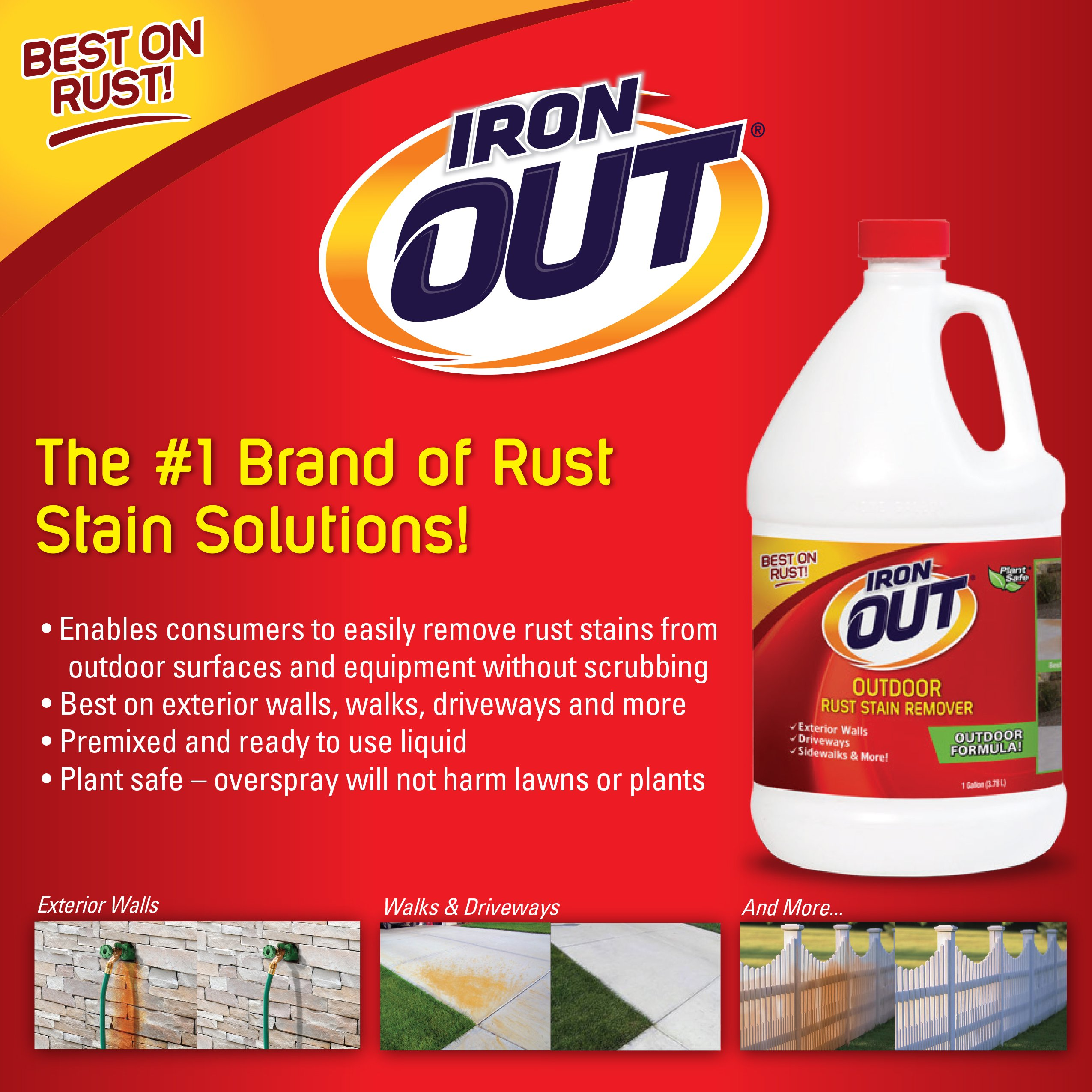 Iron OUT Outdoor Rust Stain Remover, 1 Gallon, 4 Pack by Summit Brands (Image #5)
