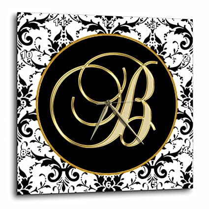 3drose fancy monograms image of the script letter b in black white and gold