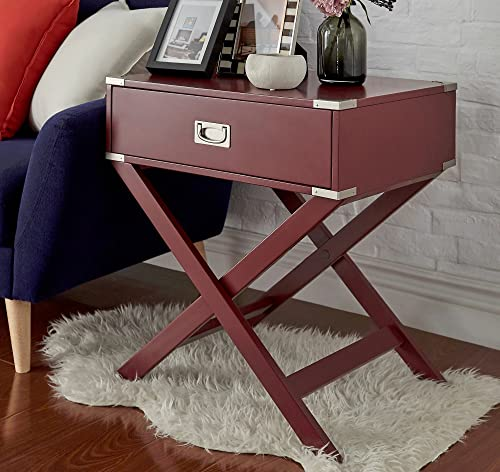 ModHaus Living Modern Wood Accent X Base Nightstand Campaign Sofa Table Consoles Rectangle S.
