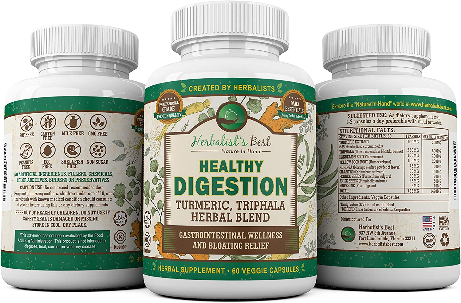 3 Bottles of Healthy Digestion Restores Gut Health I Turmeric Triphala Yellow Dock Aid Colon Cleanse Liver Detox Arthritis Bloating Gas I Probiotic Alternative I Boosts Wellness by Herbalist s Best