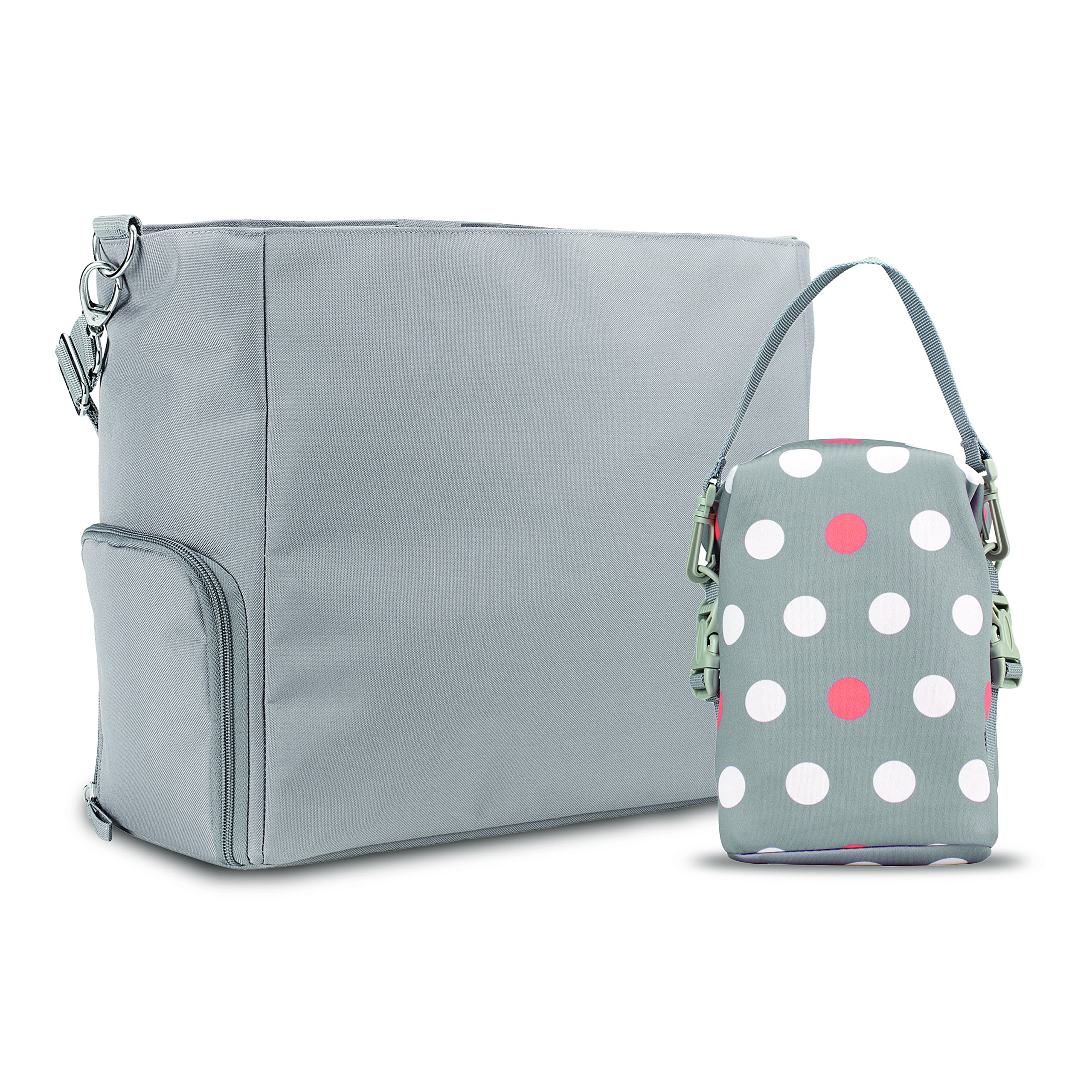 Dr. Brown's Breast Pump Carryall Bag and Convertible Bottle Tote, Grey and Polka Dot