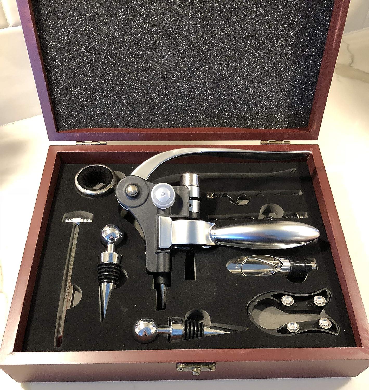 9 Piece Rabbit Wine Accessories Set- Includes Wine Aerator, Rabbit Lever Corkscrew, Elegant Wooden Gift Box, Wine Accessories, Wedding Anniversary Gift by BrandBold