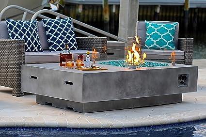 AKOYA Outdoor Essentials 65u0026quot; Rectangular Modern Concrete Fire Pit Table  W/Glass Guard Crystals