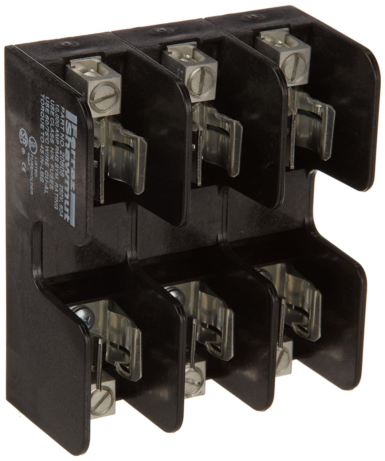 mersen 20608 one-time class k-5 recommended fuse block with box connector,  250v, 31-60 ampere, 3 pole: amazon com: industrial & scientific