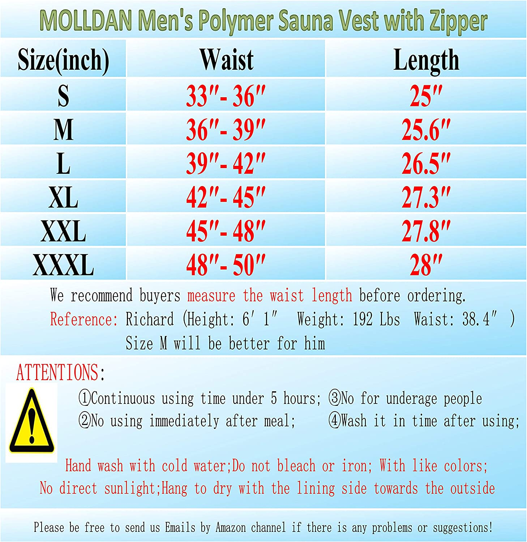 MOLLDAN Mens Polymer Sauna Vest Weight Loss Sweat Slimming Tank Top with Zipper