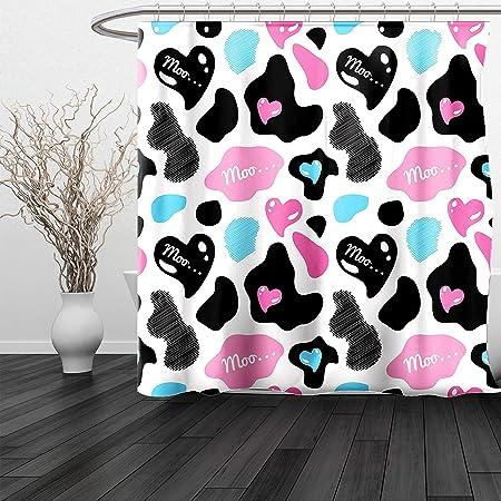 Haixia Shower Curtain Cow Print Lovely Cow Hide Cute Hearts Moo